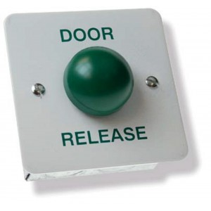 Stainless Steel Door Release White with Green Dome Button